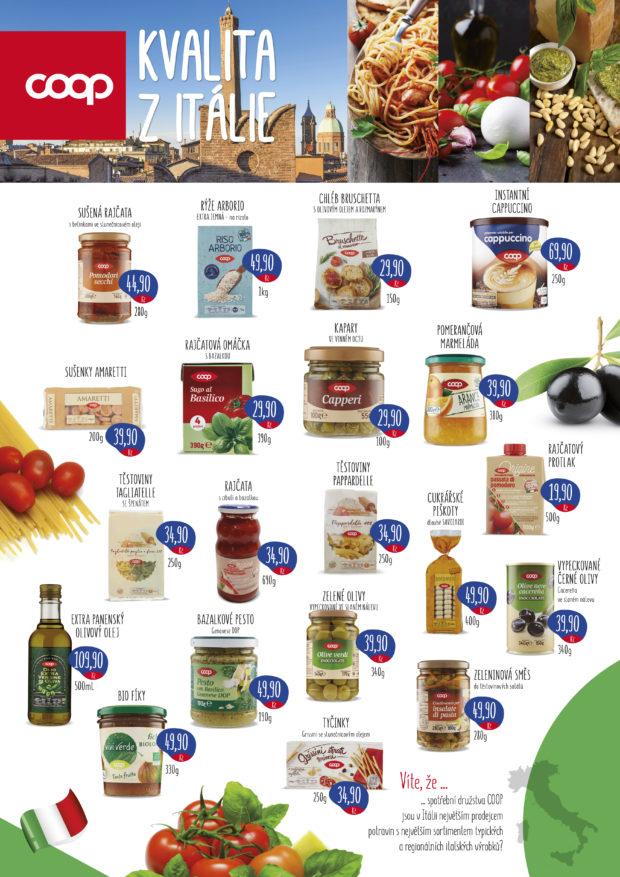 Coop v předvánočním období rozšíří nabídku italských potravin