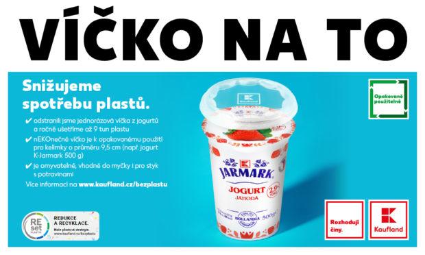 Kaufland nabízí opakovaně použitelné víčko na mléčné výrobky